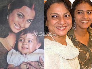 kajol with mother  tanuja : kajold.blogspot.com Indian top stars childhood teen age and marriage photos