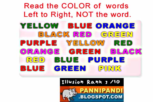 top 10 latest list of illusions - do you know the color of the word