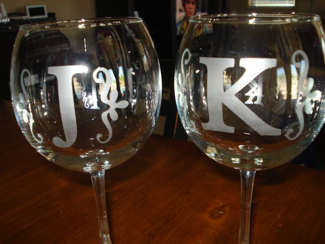I etched these wine glasses for friends that are roommates.