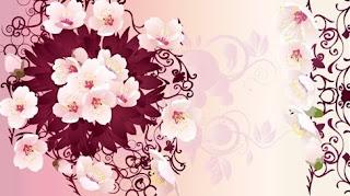 Flori stilizate roz si violet