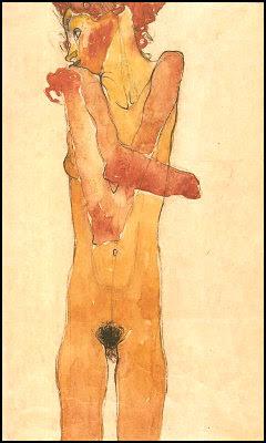 Rapariga nua de braços cruzados (Gertrude Schiele) - Egon Schiele