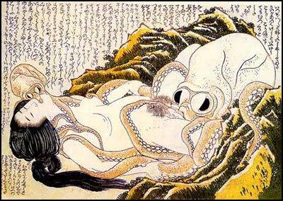 Katsushika Hokusai - O sonho da mulher do pescador ou Mergulhadora e polvos