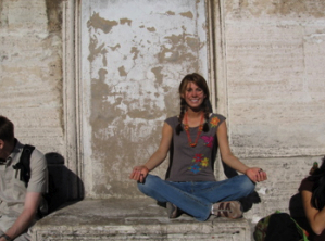 "Carly loves yoga...enough to pose on the top of St. Peter""s Cathedral in the Vatican!"