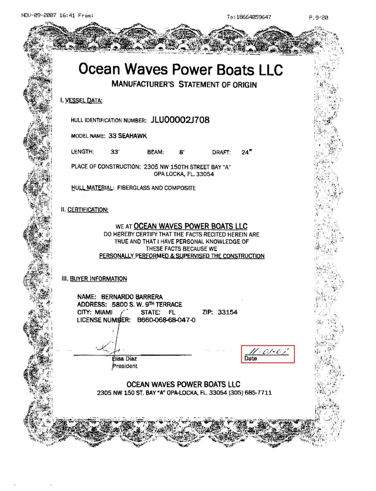 Boat Builders Boat Builders Certificate Of Origin