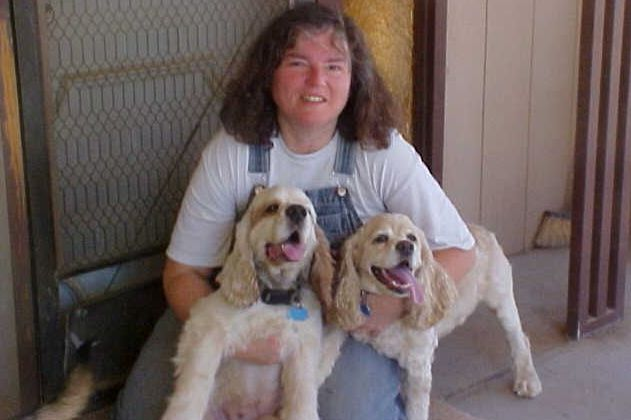 Laura Madaras with Becky and brother Kirby (left). He was saved from death at a shelter too