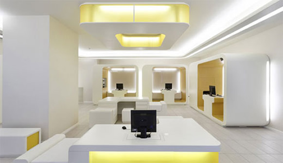 Luxurious and elegant interior design of modern banks