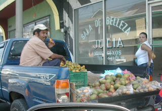 Mangos sold from pickup, La Ceiba, Honduras