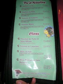 Menu, La Palapa Mexicana, La Ceiba, Honduras
