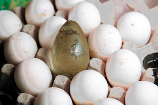 engraved crystal egg, Nueva Frontera, Santa Barbara, Honduras