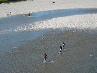 Washing clothes in the river, Honduras