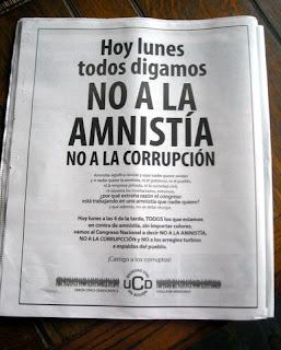 No to amnesty, no to corruption