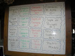menu, El Porvenir, Honduras