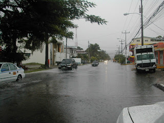 rainy street, La Ceiba, Honduras
