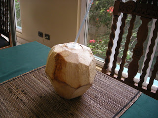 Drinking coconut juice