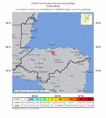 Honduras earthquake, June 2, 2009