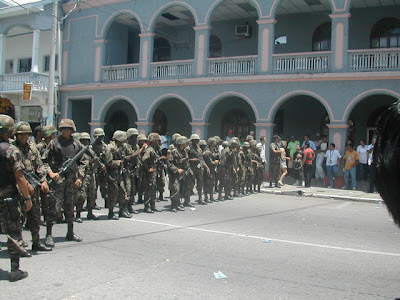 Soldiers maintaining order in La Ceiba, Honduras