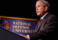 President George W. Bush delivers remarks Tuesday to the National Defense University's Distinguished Lecture Program. The president accepted the recommendations of military leaders to reduce U.S. troop levels in Iraq by 8,000 through January.