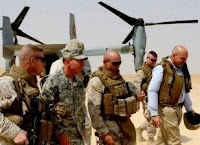 Gen. David Petraeus, commanding general, Multi-National Force - Iraq, arrives at Camp Gannon, Iraq, Saturday to visit Iraqi security forces at the point of entry along the Iraqi-Syrian border and speak with American troops at the camp.
