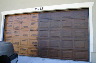 Moody girl projects garage door take 2 for Faux painting garage doors look like wood