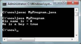 java program using char data type