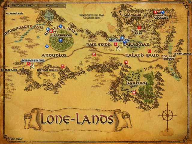 LOTRO Map of the Lone-lands