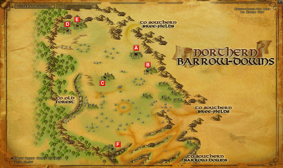 LOTRO Barrow Downs North map