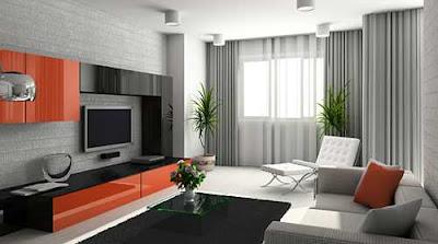 living room window treatment modern