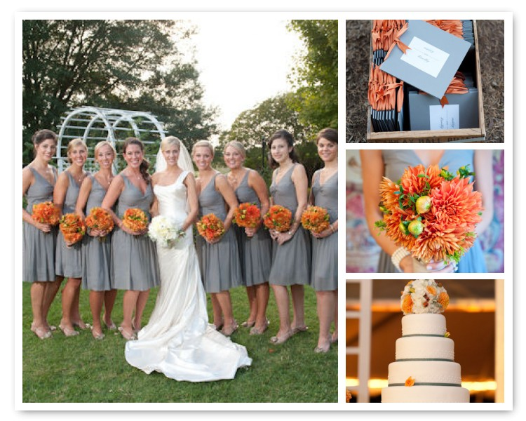 We love the 2011 Pantone shade Silver Cloud as a backdrop wedding color