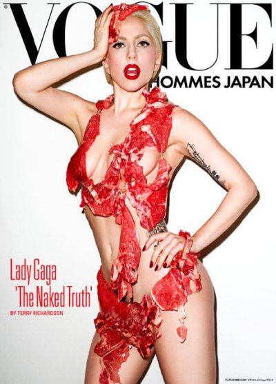Lady GaGa (real name, Stefani Germanotta) poses in a raw meat bikini on
