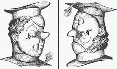 Ilusão de ótica com duplo-sentido, basta reverter o desnho