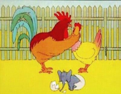 Piada-Imagem: Desenho com galo corno, galinha e um elefantinho saindo do ovo
