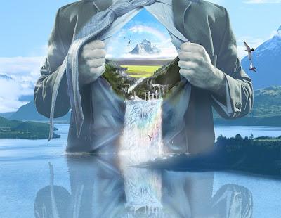 wallpaper fundo de tela com imagem de homem com o peito aberto e cascatas saindo dele