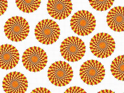 Círculos estáticos aparentam movimento em Imagem de Ilusão de Ótica.