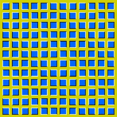 Imagem de Ilusão de Ótica com quadrado estáticos que parecem se mover.