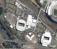 Foto de satélite do_Google_Earth focando o Melbourne Park