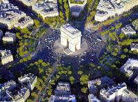 Foto aérea da Praça Charles de Gaulle com o Arco Do Triunfo ao centro.