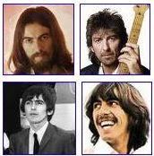Fotos de George Harrison em várias fases da vida.