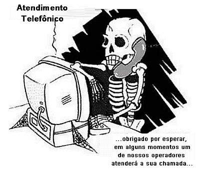 Cartoon satiriza a realidade do atendimento nas empresas de telefone.