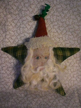 Primitive Santa Star Ornie, ticking