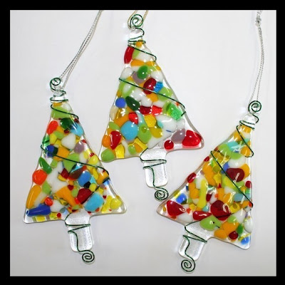 there are snowflakes santas wreaths and christmas trees they are very affordable at 17 to 23 each need some decorations for your tree - Fused Glass Christmas Ornaments