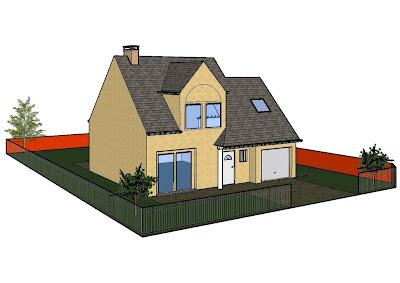 Faire construire plan ext rieur fait avec google sketchup for Modele maison sketchup