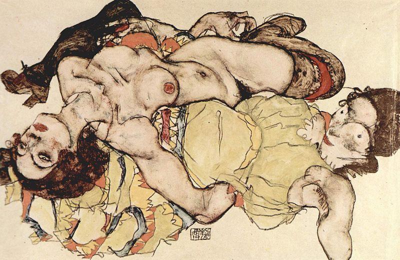 Egon Schiele, Zurückgelehnte Frau, or Two Women, 1915