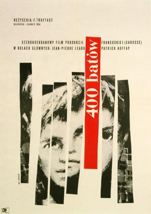 the 400 blows / les quatrecents coups / 400 batow / polish movie poster 1959