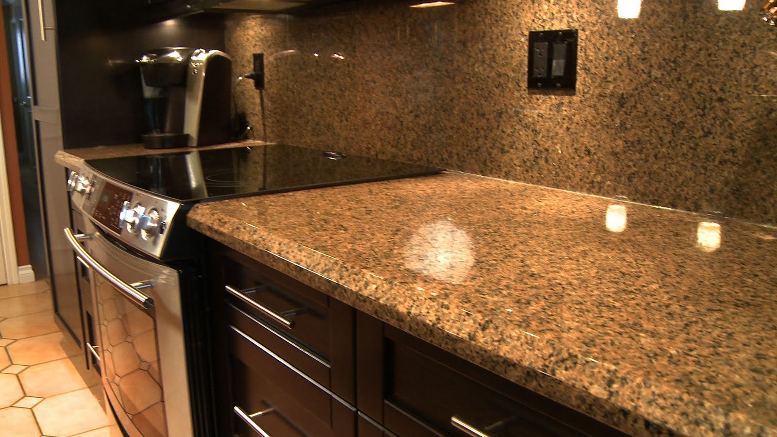 black granite countertops in kitchen