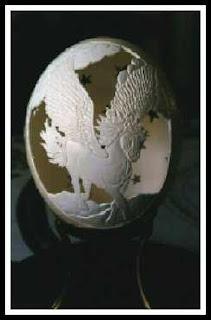 Egg shell art by laser
