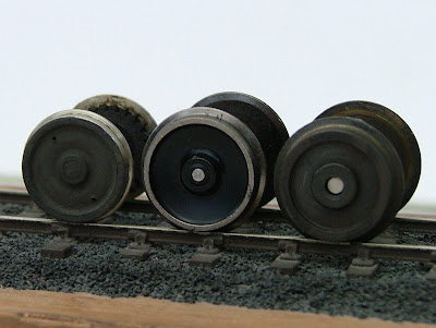Wheelsets compared - left to right, Ultrascale drop-in replacement, Bachmann and Lima.