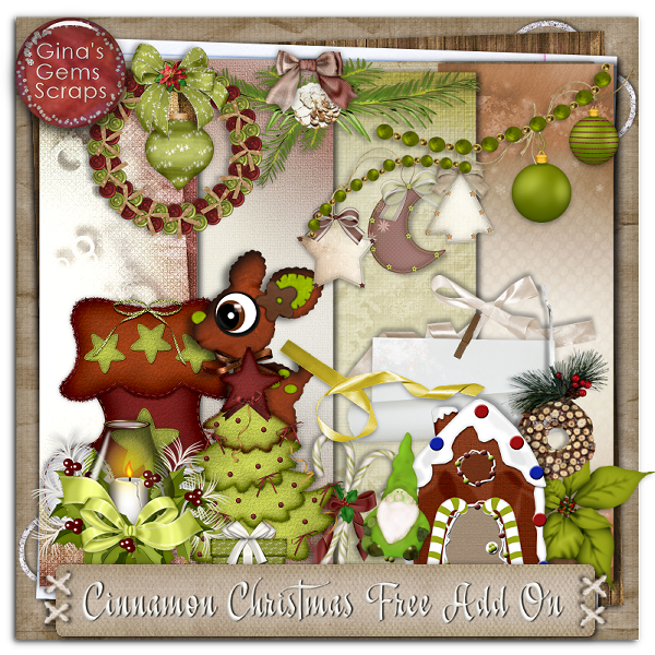 Ginas Gems Scraps Cinnamon Christmas Free Add On