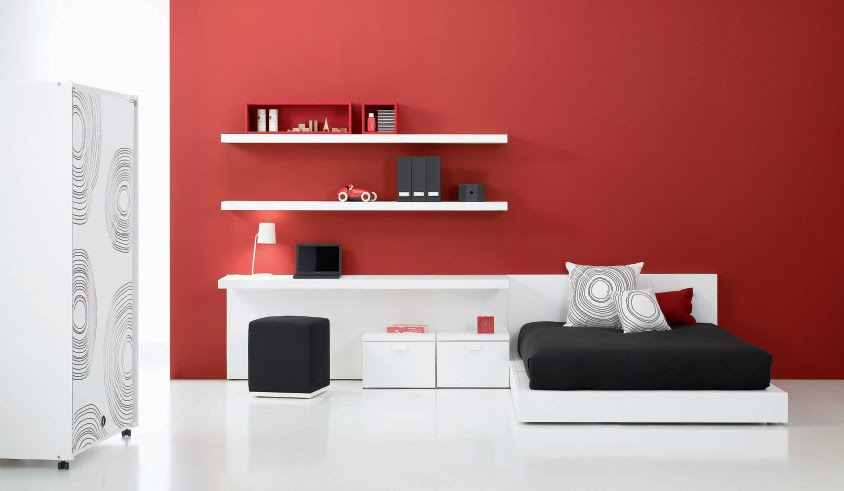 Baño Minimalista Rojo:Black and Red Elegant Teen Bedroom Ideas