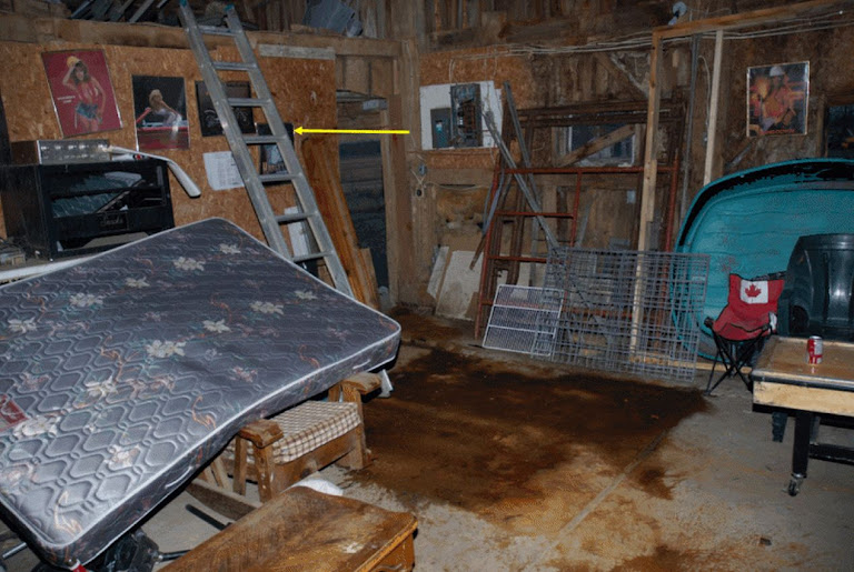 ladder to loft in Wayne Kellestines barn scaled by  Michael Sandham the night of the murders