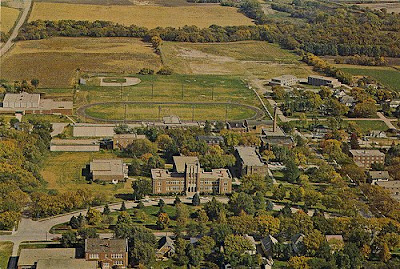 Aerial Photograph of the campus of Concordia Teachers College (now called Concordia University) in Seward, Nebraska. The image was scanned from an old postcard.